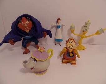 1990's Beauty and the Beast (Set of 5 ) Rubber Figures - Disney- Belle