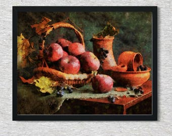 Vintage still life painting of apples and a jug, digital print, digital download, classic still life, paintings of apples, Home decor