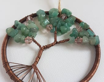 Green, Pink, Tree of Life, stones, Beaded sun catcher, Copper, mindfulness gift, wire tree, metal tree of life, sacred tree, crystal energy