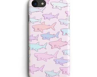 Pastel Shark iPhone 7 case, iPhone 7 Plus case, iPhone 6s case, iPhone 6s plus case 5s, 5c, kawaii, Cute , cover , jaws , pink , purple