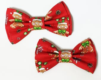 Bow Tie,Dad and Son Bow Ties,Christmas Bow Tie,Mens Bow Tie,Red Gingerbread Bowtie, Father Son Bow Ties, Boys Bow Tie, Bowtie,Bow Tie  DS733