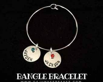 Bangle Bracelet | Personalized | Handstamped | Jewelry | Gifts For Her