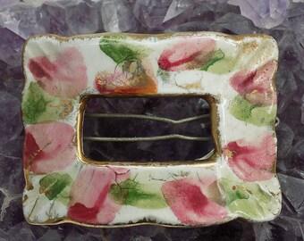 Vintage Ceramic Floral Hair Slide Clip