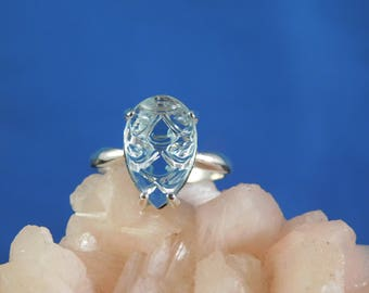 March Birthstone 3.89 ct. Rare Carved Pear Aquamarine Ring Sterling Silver