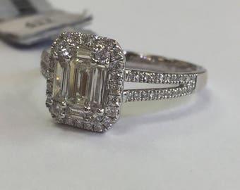 18k white gold baguette diamond ring