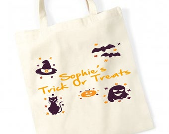 Personalised Girls and Boys Halloween Trick Or Treat Canvas Tote  Party Bag