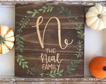 Custom Family Name Sign, Last Name Sign, Wood Pallet Sign, Established Sign, wreath sign