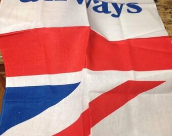 """British Airways Tea Towel Kitchen , 50 Linen/50 cotton 26""""x16"""" 1980s"""