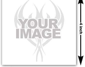 4x4 inch Image or logo as custom temporary tattoo - upload design or photo & we create customized temp fake tattoos - Personalized