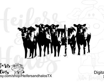 Herd behind fence svg, pdf, png, eps, dxf, cut file for cricut and silhouette, use for t-shirts, decals, and yeti cup designs