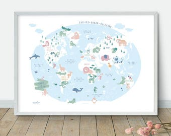 Map For Playroom Etsy - World map for playroom