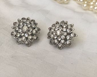Diamanté cluster flower earrings