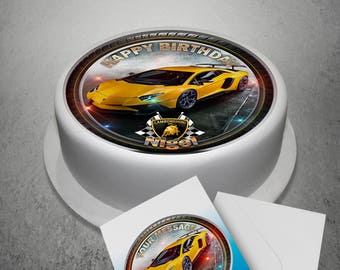 "Yellow Lamborghini Personalised Edible Icing Cake Topper 7.6"" with A5 Greeting Card"