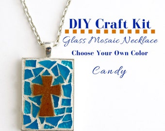 Cross Necklace DIY Kit, Do It Yourself Necklace Making Kit, Religious Christian Craft Idea, Sunday school Activity, Gift Idea Under 15