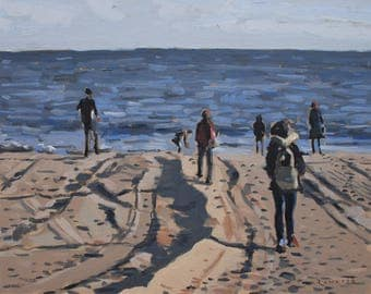 "Figures on beach // art original oil painting // 16x20"" oil on canvas board unframed // by Elliot Roworth"