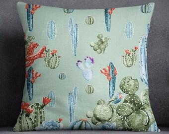 Cactus Printed Light Green Pillow Case, Decorative Cushion Cover, Standard Cushion Cover, Modern Cushion Cover, SUB-SAS124D