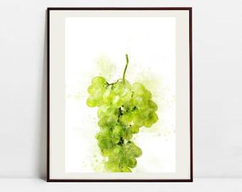 Grape Watercolor Art Print, Grape Illustration, Kitchen Wall art, Kitchen Wall Decor, Fruit Print