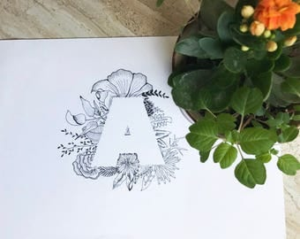 Botanical Typography for letter A