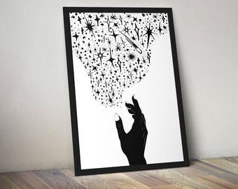 Reach For The Stars, Abstract Art | monochrome print, housewarming gift, modern art, scandinavial art, gift for her, shooting star, wall art