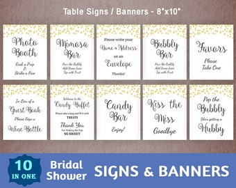 Bridal Shower Signs Package, Printable Party Signs Bundle, Wedding Shower Signs, Gold Confetti, Banners, Table Signs, Cards, BSPKG, A001