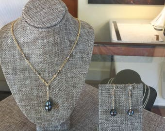 Tahitian Pearl Y Necklace Set