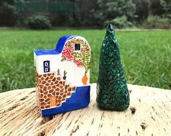 Tiny Santorini ceramic house