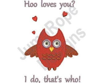 Hoo Loves You - Machine Embroidery Design