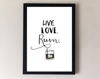 Rum print, alcohol print, rum lover, alcohol lover, bar print, pub print, cafe print, kitchen print, bar art, pub art, kitchen art