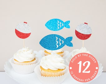 Fishing Cupcake Toppers | The Big One Fishing Birthday | Fishing Party | Fishing Birthday Party Decorations | Gone Fishing Birthday