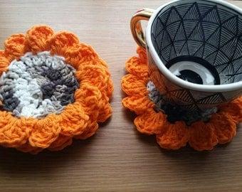 Camo Flower Coasters / Sunflower Coasters / Sunflower Decor / Camo Coaster Set / Camo Decor / Flower Coaster Set / Flower Decor / Set of 4