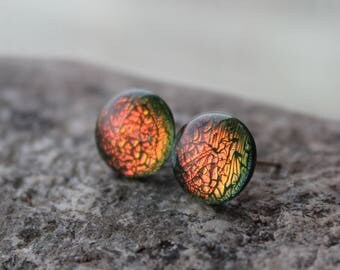 glass stud earrings ] green orange glass dichroic \dichroic  stained glass \ fused \ iridescent glass\rainbow glass\rainbow earrings