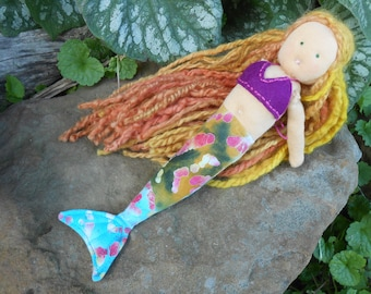 Waldorf Mermaid Doll/Small Waldorf doll/Soft organic doll/organic cotton doll/soft eco toys/natural doll/wool filled doll/pretend play doll