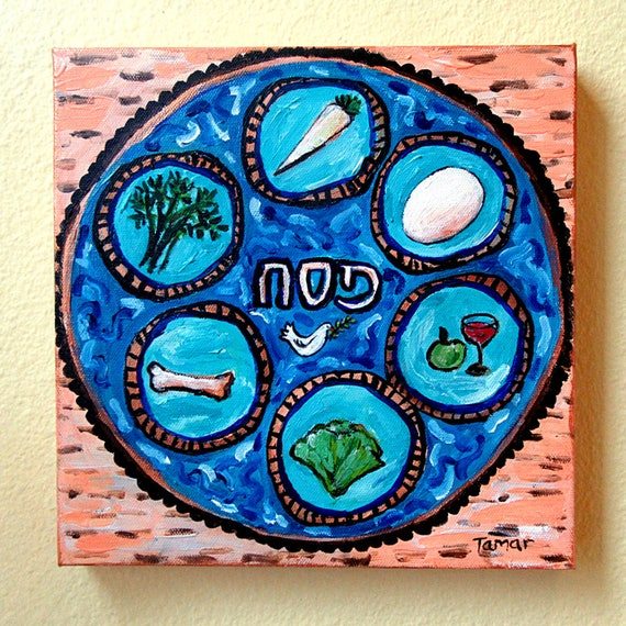 Passover Art Seder Plate with Peace Dove on Matzos Original