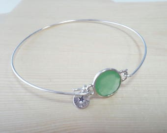 Silver bracelet with green glass. Silver Bracelet with Green glass.