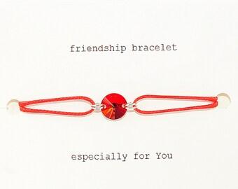 Cord bracelet with Swarovski crystal, wax cord bracelet, friendship bracelet, adjustable bracelet