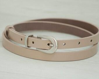 Leather Belt, Beige Patent Leather Belt, Beige Patent Leather Womens Belt, Skinny Belt, Thin Belt, Dress Belt
