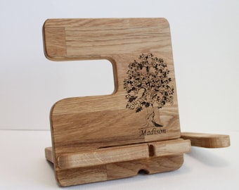 Christmas gift ideas Desk organizer iPhone 8 Personalized Docking Station docking Charging Station wood docking station iPad holder Wooden