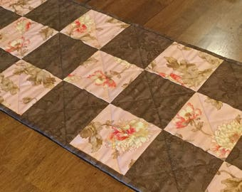 Brown and Peach Quilted Table Runner, Peach Table Runner, Brown Table Runner, Quilted Dresser Scarf, Quilted Dresser Runner, Table Quilt