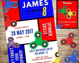 Fidget Spinner Birthday Party Invitation, Spinner, Free Thank You Card,  Personalized