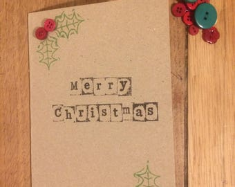 A6 Handmade Merry Christmas Card. With buttons