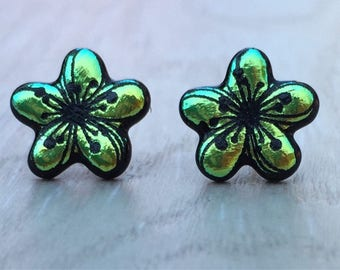 Dichroic Fused Glass Stud Earrings - Green Plumeria Flower Laser Engraved Etched Stud Earrings with Solid Sterling Silver Posts