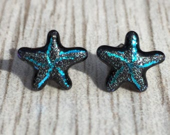 Dichroic Fused Glass Stud Earrings - Aqua Blue Starfish Laser Engraved Etched Studs with Solid Sterling Silver Posts