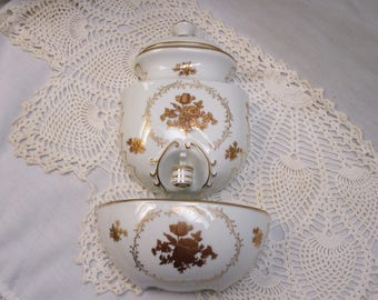 Gold And White Porcelain Wall Fountain 3 Piece Ornate Lavabo Hand Painted Japan