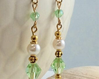 Summer Green Swarovski Crystal Pearl Gold Accent Drop/Dangle Earrings with 18kt gold plate wires