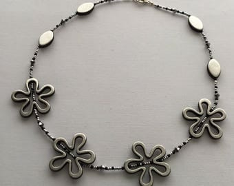 Silver grey beaded chunky flower necklace