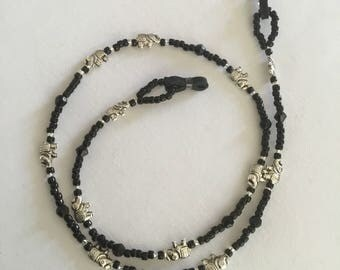 owl and black beaded spectacle/glasses chain