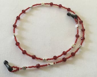 Silver leaf red beaded  spectacle/glasses chain