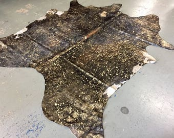 Cowhide- Devoré Metallic Gold and Chocolate Rug| FREE SHIPPING