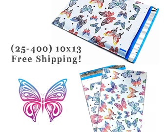 "FREE SHIPPING! (25-400 Pack) 10x13"" Colorful Butterfly Designer Poly Mailers"