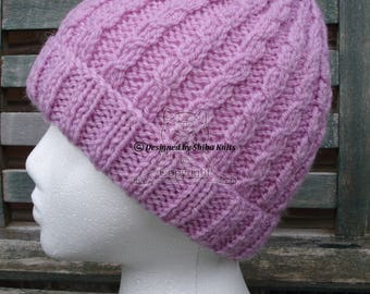 Pink Knitted Hat, Beanie Hat, Hand Knitted Hat, Girls Knitted Hat, Girls Beanie, Womens Knitted Hat, Pink Beanie Hat, Womens Pink Beanie,